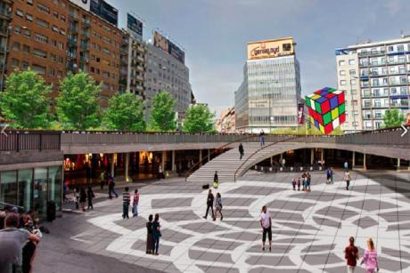 piazza loreto pedonale cubo rubik Foto UrbanFile